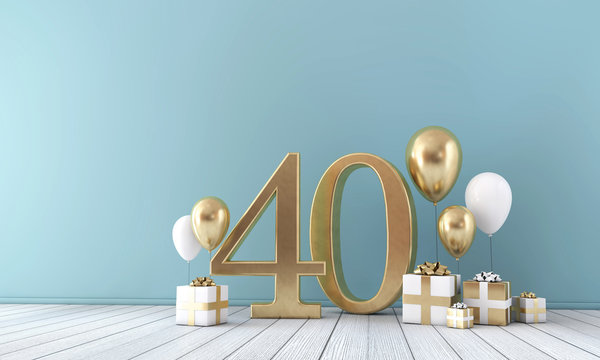 Number 40 party celebration room with gold and white balloons and gift boxes.