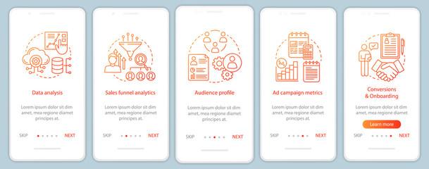 Fototapeta SMM metrics courses onboarding mobile app page screen vector tem obraz