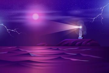 Working at night lighthouse in stormy weather on rocky seashore with fool moon and lightning bolts in starry sky cartoon vector in neon colors. Nature tragical scene background. Dangerous sailing