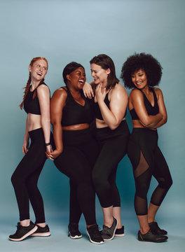 Diverse group of female in sportswear