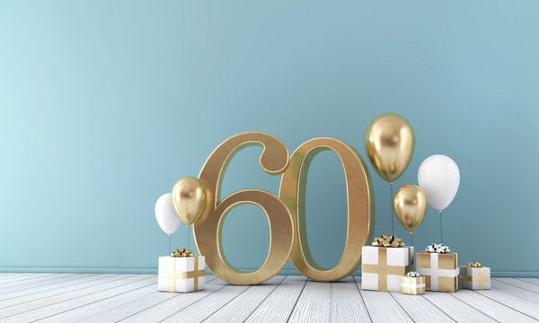 Number 60 party celebration room with gold and white balloons and gift boxes.