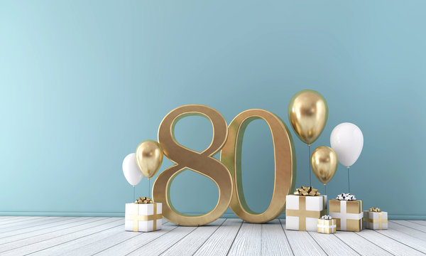 Number 80 party celebration room with gold and white balloons and gift boxes.