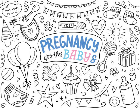 Pregnancy and baby hand sketched doodle set. Doodle hand drawn set of objects and symbols on baby shower theme. Vector illustration eps 10