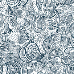 Colorful background with ornate repeating paisley pattern. Beautiful ornate floral seamless pattern vector template.