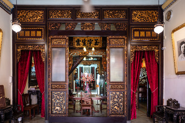 Entrance of Baba and Nyonya Heritage Museum in Malacca, Malaysia.