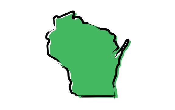 Stylized green sketch map of Wisconsin