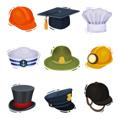 Professional hats on white background. Vector illustration.