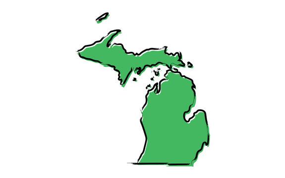 Stylized green sketch map of Michigan