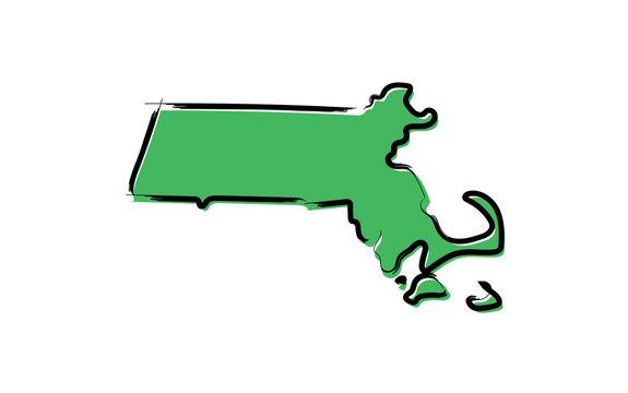 Stylized green sketch map of Massachusetts