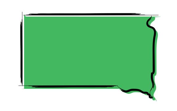 Stylized green sketch map of South Dakota