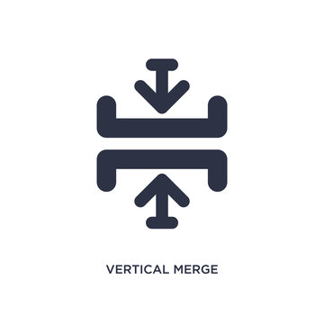 vertical merge icon on white background. Simple element illustration from arrows concept.