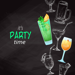 Background with different cocktails. Drawing chalk on a blackboard. Caption: it's party time. Place on your text. Vector