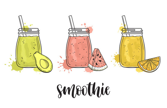 Set of smoothie jars with avocado, watermelon and orange. Colorful vector illustration with paint splashes