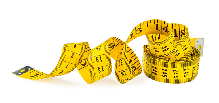 yellow isolated metric measuring tape on white background