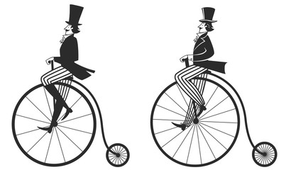 man in top hat on a retro bike
