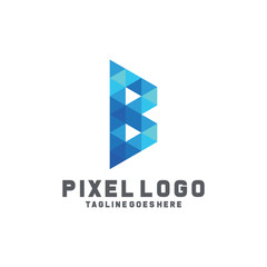 Pixel Logo / Technology Icon / Company Logo Vector / Modern Symbol Design Inspiration