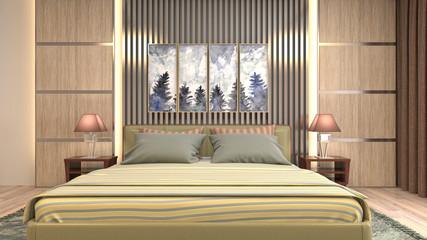 Wall Murals Illustration Paris Bedroom interior. 3d illustration