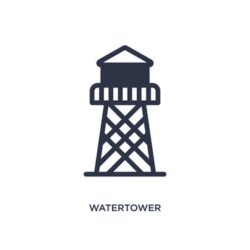 watertower icon on white background. Simple element illustration from wild west concept.