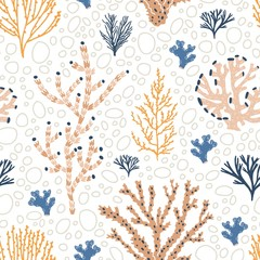 Wall Mural - Seamless pattern with orange and blue corals, seaweed and bubbles on white background. Backdrop with exotic underwater creatures, oceanic species, sea biodiversity. Flat colorful vector illustration.
