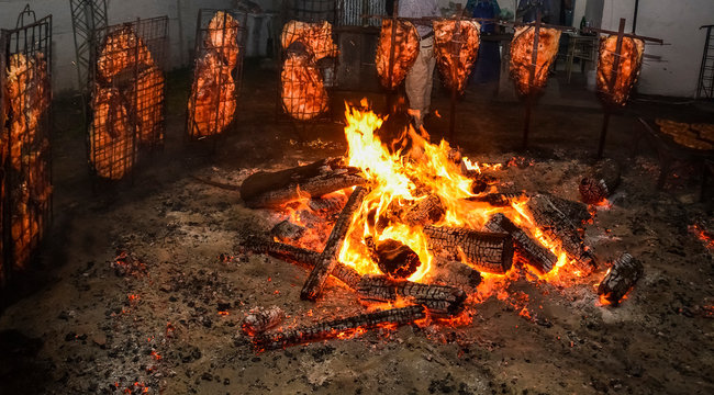 Barbecue cow ribs, traditional Argentine roast