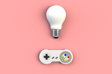 Video game console GamePad. Gaming concept. Top view retro joystick with light bulb isolated on pink background, 3D rendering