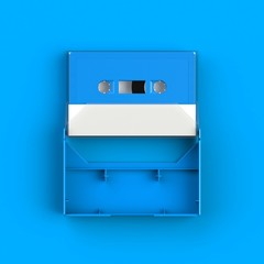 Close up of vintage audio tape cassette with cassette tape box concept illustration on blue background, Top view with copy space, 3d rendering