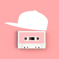 Close up of vintage audio tape cassette with hat concept illustration on pink background, Top view with copy space, 3d rendering