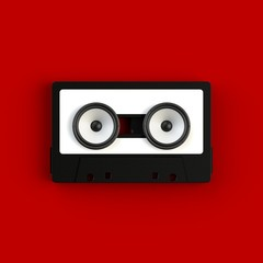 Close up of vintage audio tape cassette with speakers concept illustration on red background, Top view with copy space, 3d rendering