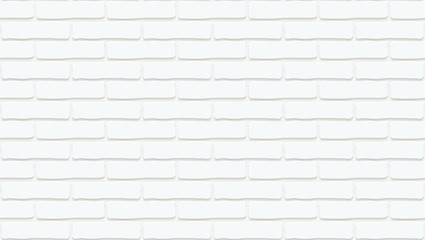 White brick wall texture. Empty background. Vintage stonewall. Room design interior. Backdrop for cafe. High quality seamless 3d illustration.