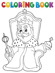 Poster For Kids Coloring book king on throne theme 1