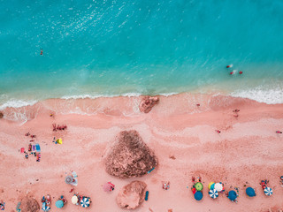 Aerial View Of A Beautiful Pink Beach