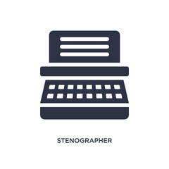 stenographer icon on white background. Simple element illustration from law and justice concept.