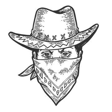 Cowboy head in bandit gangster mask bandana sketch engraving vector illustration. Scratch board style imitation. Hand drawn image.