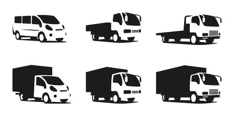Set of trucks, silhouettes of trucks, vector stock illustration
