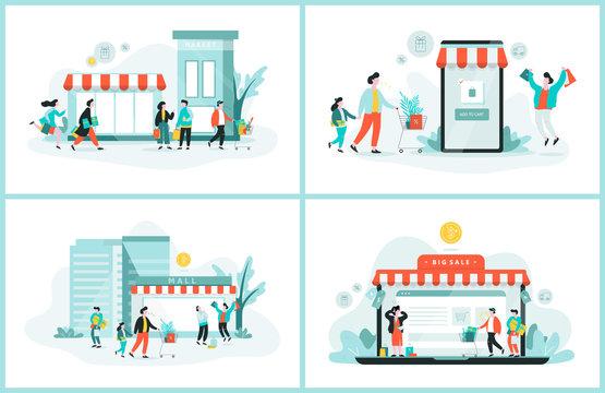 Online shopping web banner. Customer service concept