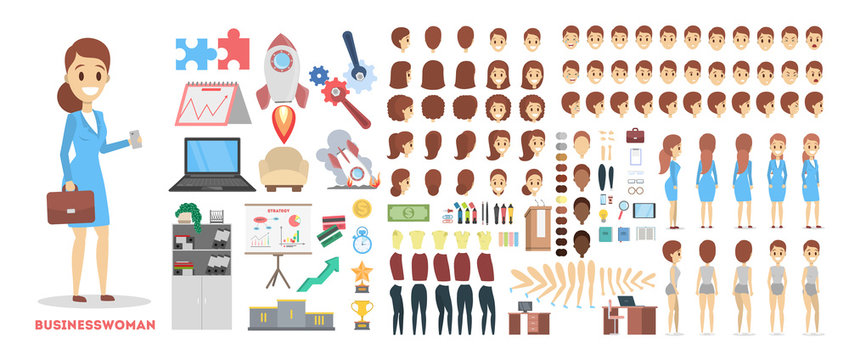 Business woman character set for the animation with various views