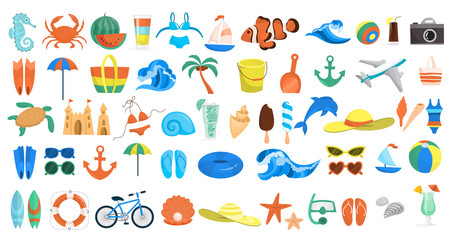 Beach set. Collection of summer vacation stuff Wall mural