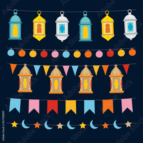 Set Of Ramadan Kareem Strings And Garlands With Lights