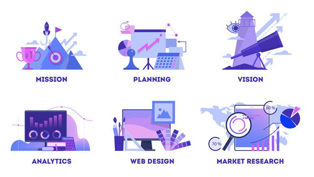 Business concept web banner set. Mission and plan