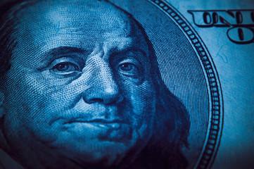 Portrait of Benjamin Franklin from 100 dollars bill.
