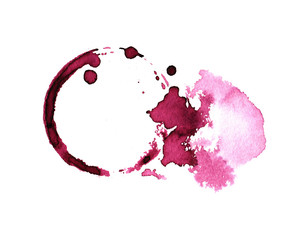 Red wine stain isolated on white background. wine texture watercolor