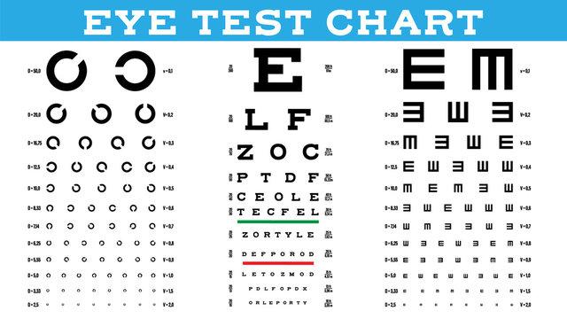 Eye Test Chart Set Vector. Vision Test. Optical Exam. Healthy Sigh. Medical Care. Ophthalmologist. Glaucoma Illustration