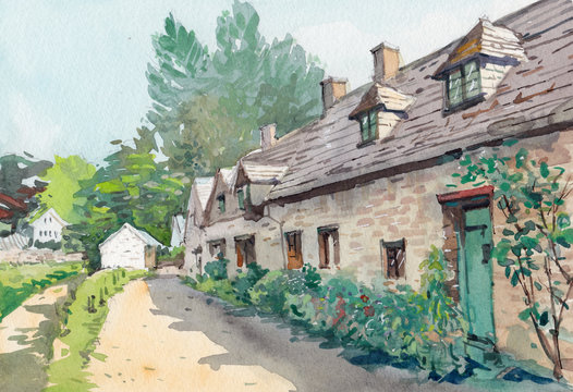 old cottage watercolor hand drawn