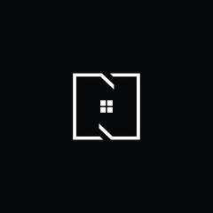 Logo design of N in vector for construction, home, real estate, building, property. Minimal awesome trendy professional logo design template on black background.