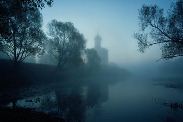 Church of Intercession upon Nerl River. (Bogolubovo, Vladimir region, Golden Ring of Russia) in autumn fog Wall mural