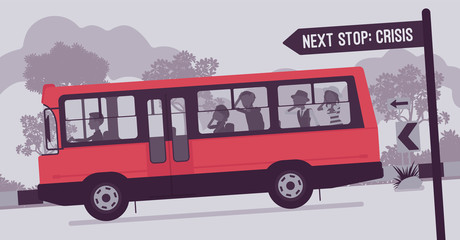Business team moving fast to crisis. Businessmen and businesswomen in a bus riding down to crash accident, catastrophe, company damage and financial disaster. Vector illustration, faceless characters