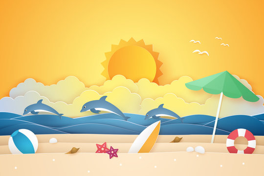 Summer time , sea and beach with dolphins and stuff , paper art style