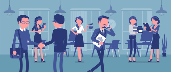 Employees busy in the office. Group of business people working in room, businessmen meet colleagues, perform professional activity in positive corporate mood. Vector illustration, faceless characters