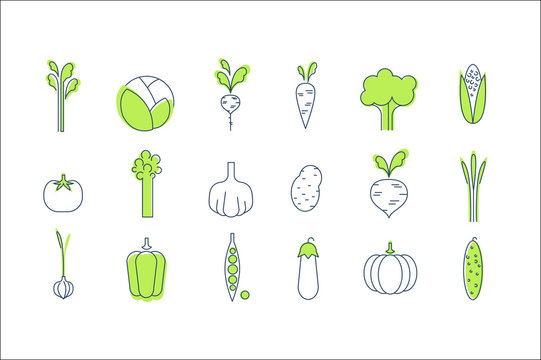 Vegetable icons set, healthy vegetarian food vector Illustrations on a white background