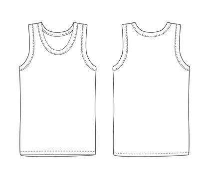 Men vest underwear. White tank top in front